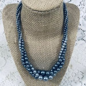 Vintage RMN Gray Silver 3-strand Pearl Necklace